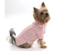 Peach Cable Snug Dog Pullover